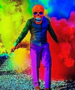 Skeleton With Bomb Smoke paint By Number