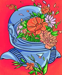 Floral Astronaut paint by Numbers