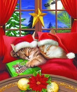 Merry Christmas Cats paint by numbers
