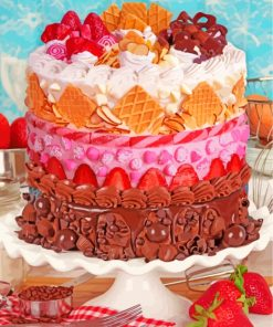 Chocolate And Fruits Cake paint by numbers