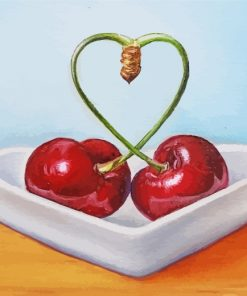 Heart Cherries Fruits paint by numbers