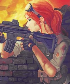 Military Anime Girl paint by numbers