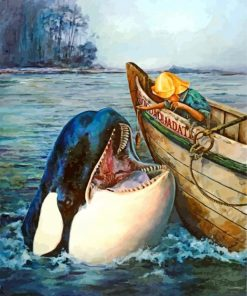 Orca With A Little Sea Man Paint by numbers