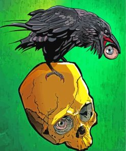 Raven On Skull paint by numbers