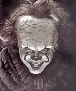 Monochrome Pennywise paint by numbers